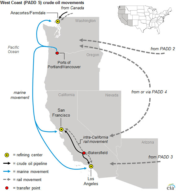 Refineries In California Map.West Coast Padd 5 Crude Oil Movements In California Reg Flickr