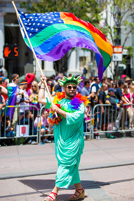 Lady Liberty in SF Pride 2015. Photo by Thomas Hawk via Flickr (creative commons)