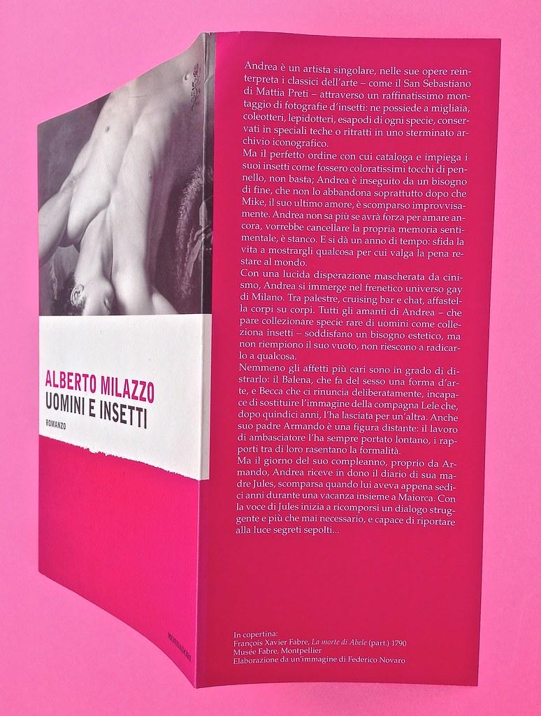 Alberto Milazzo, Uomini e insetti. Mondadori 2015. Art director Giacomo Callo; graphic designer Andrea Geremia. Copertina, bandella di cop. (part.), 1