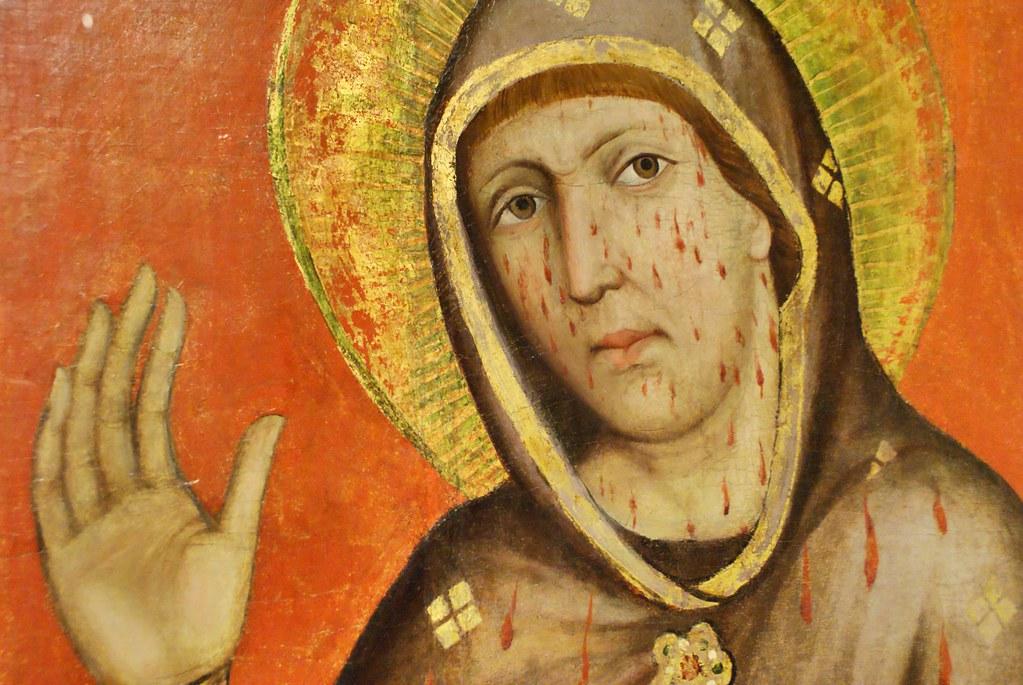 Sainte Marie le visage perlé de sang au musée gothique de Prague.