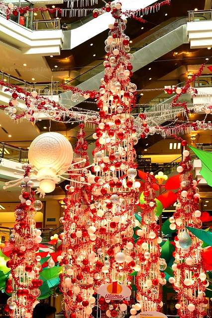 The towering red and white 'Christmas tree' and albino spider