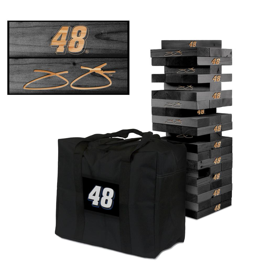 JIMMIE JOHNSON #48 Wooden Onyx Stained Tumble Tower Game (1)