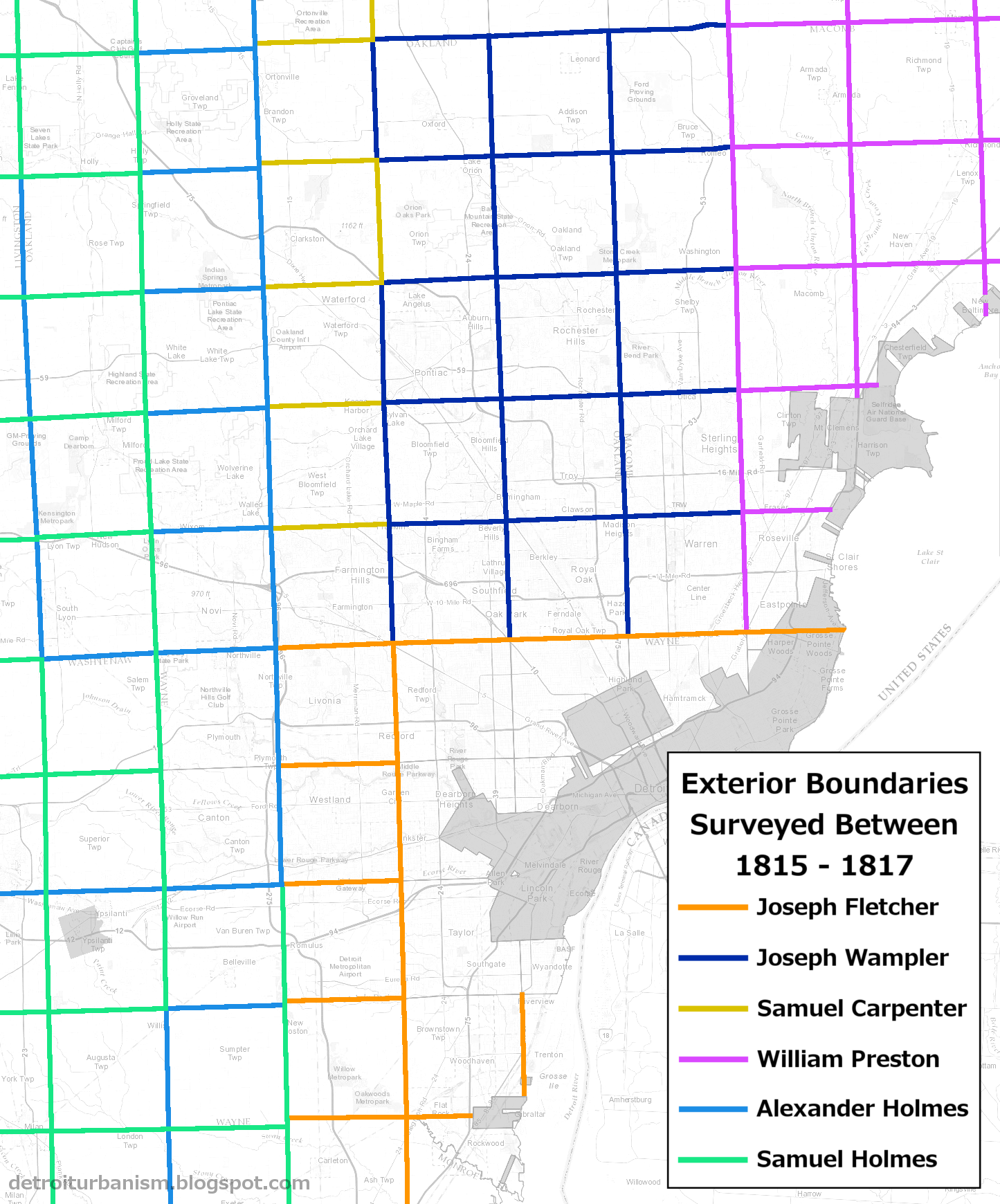 a full account of who surveyed the exterior boundaries and interior sections of every township in wayne oakland and macomb counties is provided in the