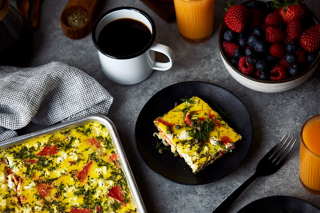 Crustless Sheet Pan Quiche with Smoked Salmon and Goat Cheese