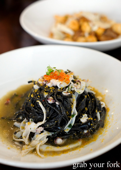 Squid ink tagliolini with squid and bottarga at Tipo 00 pasta bar in Melbourne