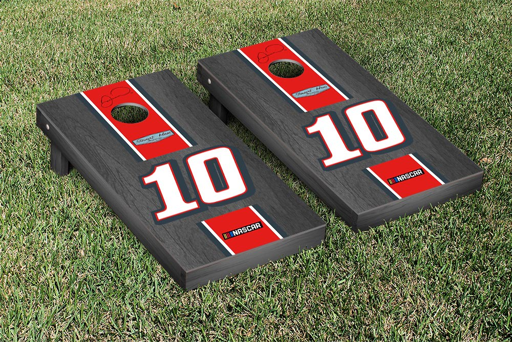 DANICA PATRICK #10 CORNHOLE GAME SET ONYX STAINED TAX ACT STRIPE VERSION