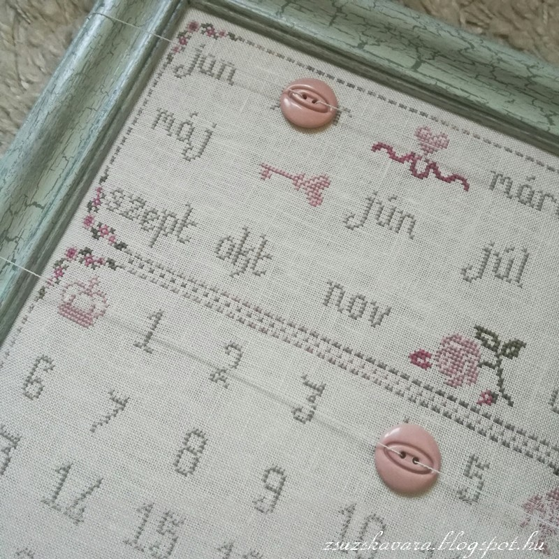 perpetual calendar, öröknaptár, cross stitch, cracked frame ,  patter, (3)