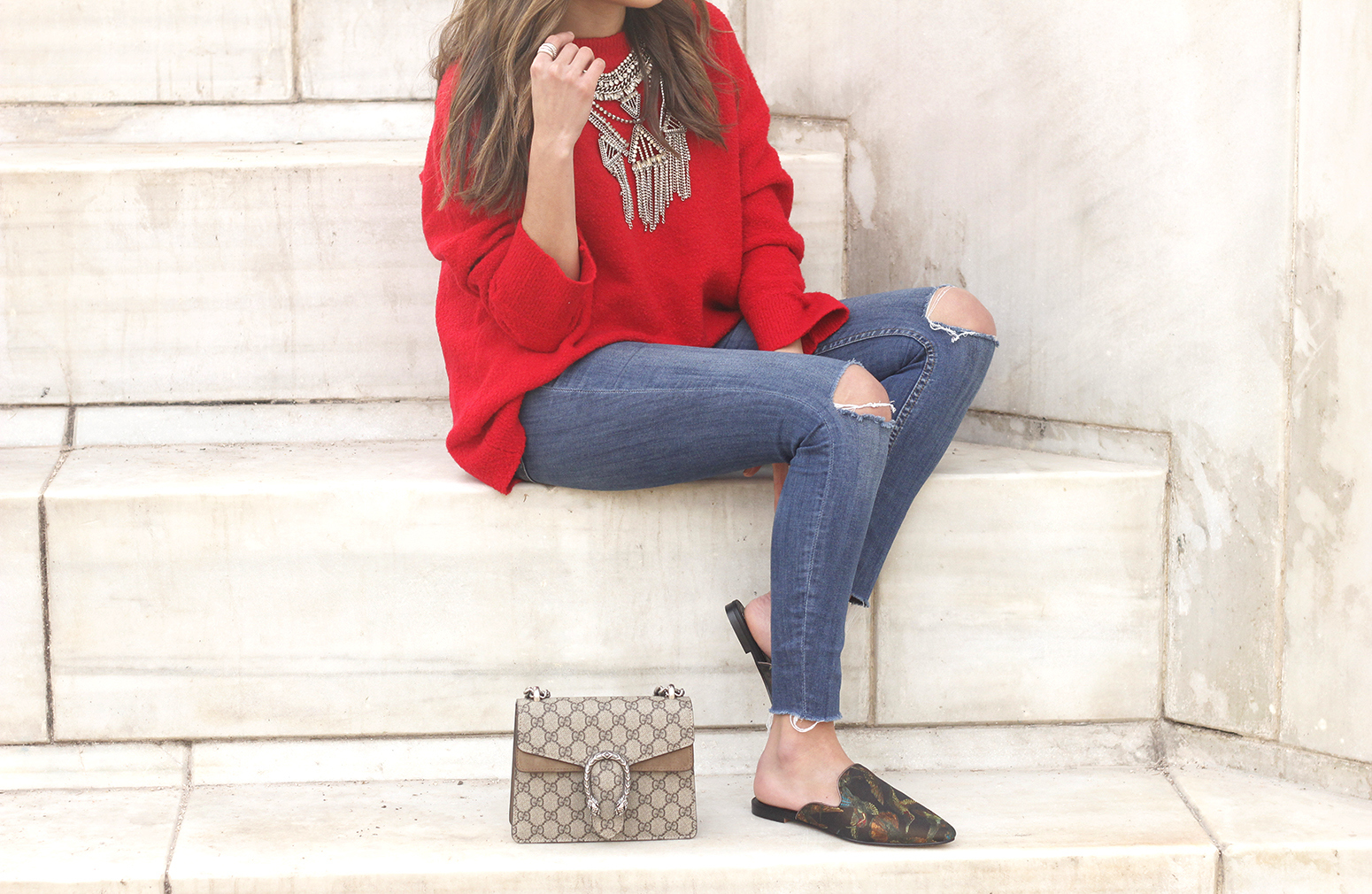 Mules Red sweater Ripped Jeans gucci bag céline sunnies fashion outfit style trend14