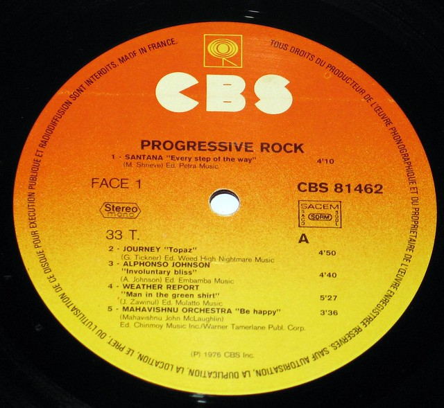 "Progressive Rock 12"" vinyl LP"