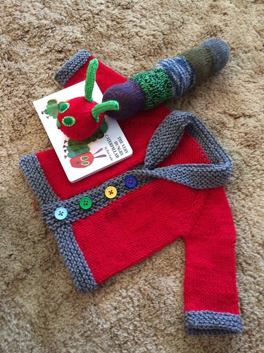 Baby knit gifts. Baby 'old man' cardigan and a hungry caterpillar.