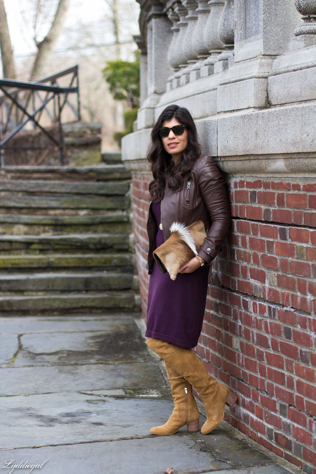 maroon sweater dress, tan over the knee boots, springbok clutch-2.jpg