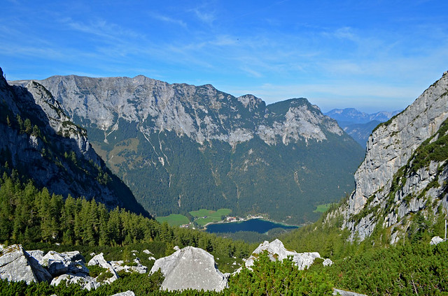 Hintersee seen from the terrace of the Blaueishütte, Berchtesgaden