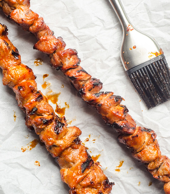 Sweet Sriracha-Glazed Pork Skewers
