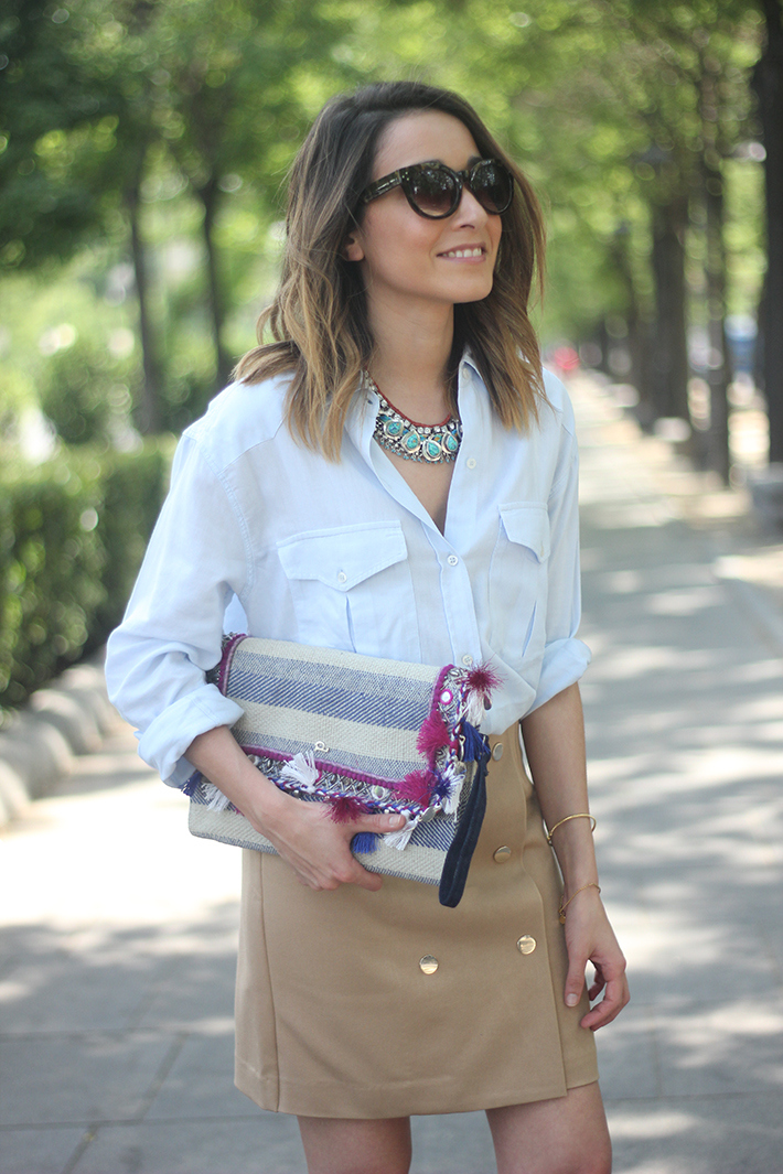 Beige Skirt With Blue Shirt06