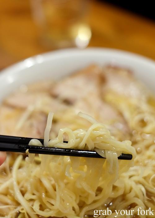 Thick handmade Kitakata-style ramen noodles at Bannai Shokudo, Kyoto Ramen Street inside Kyoto station, Japan