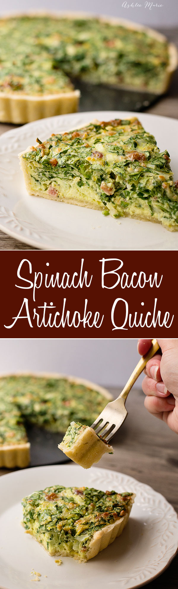 I love spinach, artichokes and bacon in any form, add a beautiful crust and eggs? perfection, my favorite quiche