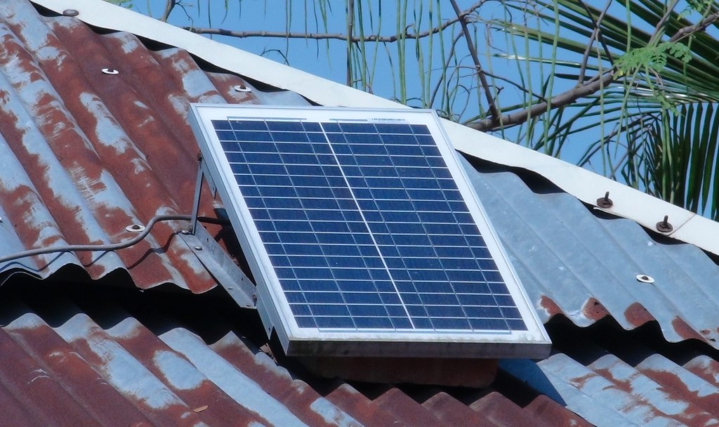 Solar Panel On Roof Taken In Khulna District Bangladesh