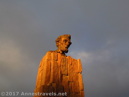 The Lincoln Bust just before sunset at the Summit Rest Area / I-80 High Point between Cheyenne and Laramie, Wyoming