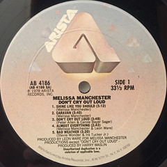 MELISSA MANCHESTER:DON'T CRY OUT LOUD(LABEL SIDE-A)