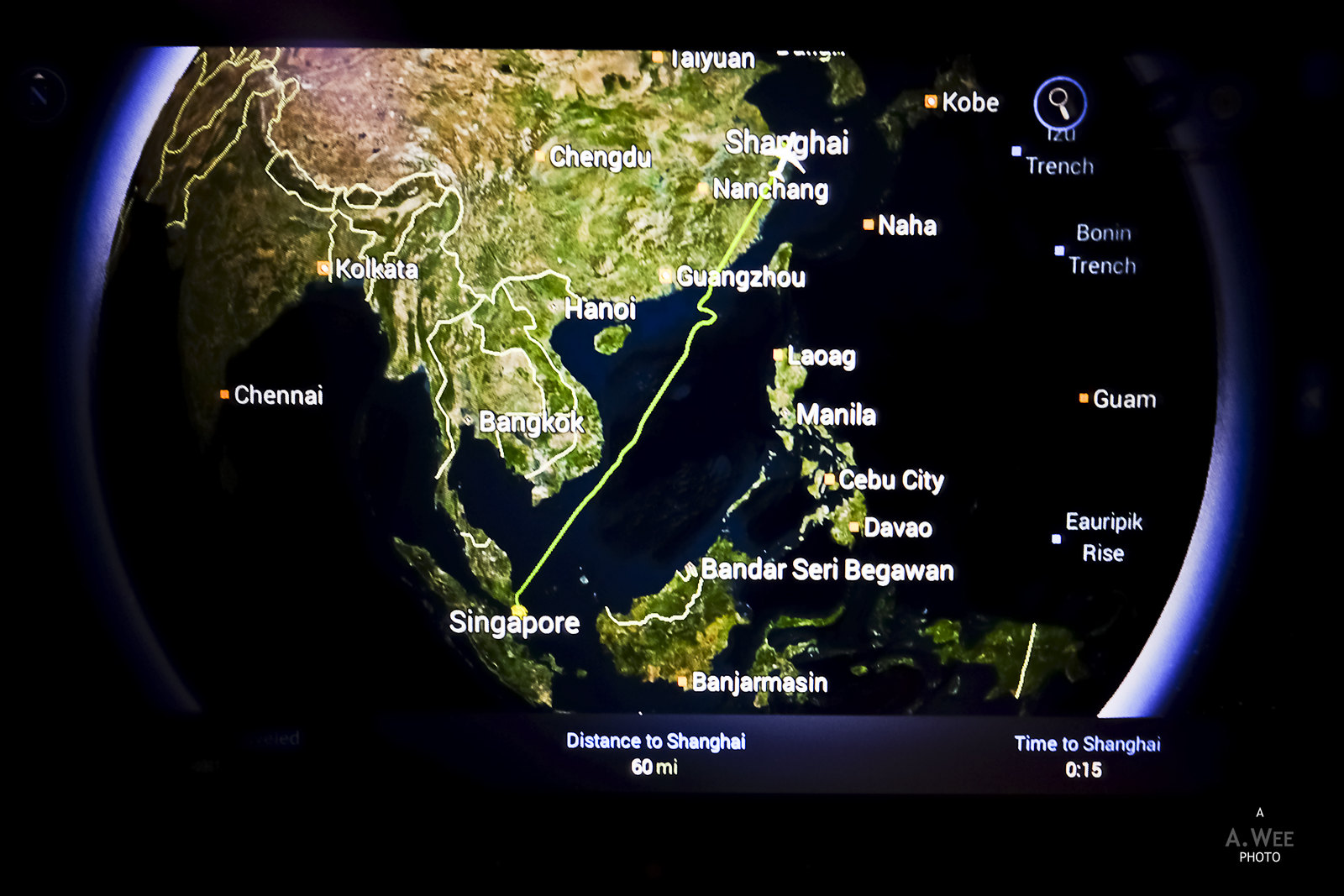 Flight route to Shanghai
