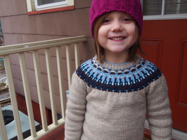 Happy M in her new hat and sweater
