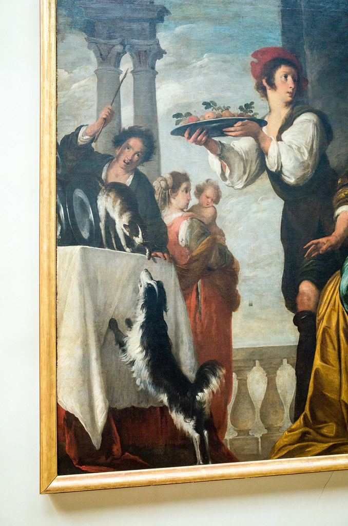 The dog and cat fighting in the corner of this painting was pretty entertaining.