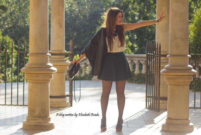 falda verde chaqueta cuero INDITEX STRADIVARIUS HEELSANDROSES (14)