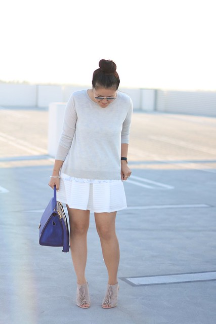 simplyxclassic, celine trapeze bag, celine blue bag, club monaco top, bloomingdales skirt, white skirt, blue bag, grey and white outfit, ootd, mommy blogger, fashion blogger, mom style, fringe booties, fringe, fringe shoes, kristin cavallarii shoes, style blog,