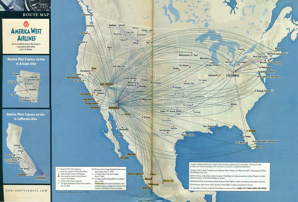 America West route map May 2002 An America West Airlines Flickr