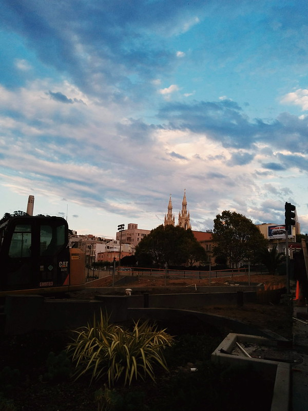 from last week: a sidewalk peek into WIP in north beach's Joe DiMaggio park/SFParksAlliance w/awesome july skies