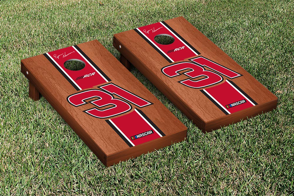 RYAN NEWMAN #31 CORNHOLE GAME SET ROSEWOOD STAINED STRIPE VERSION (1)