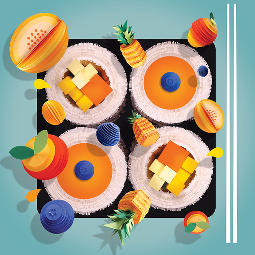 Waitrose Frushi Roll Paper Models by Lisa Lloyd
