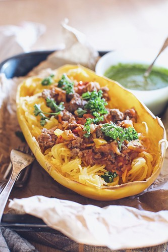 tomato sauce with spaghetti squash and a caper parsley sauce | by Hapaway