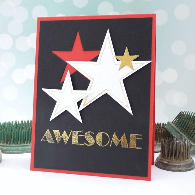 Gold Foil Awesome by Jennifer Ingle #justjingle #casualfridaysstamps #goldfoil #cards