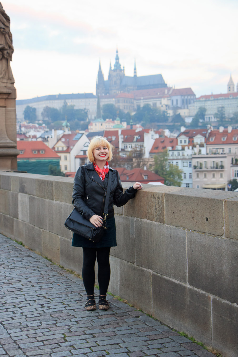 Prague Vacation Outfit Leather Jacket Green Skirt Black Jo Totes Camera Bag Leopard Shoes
