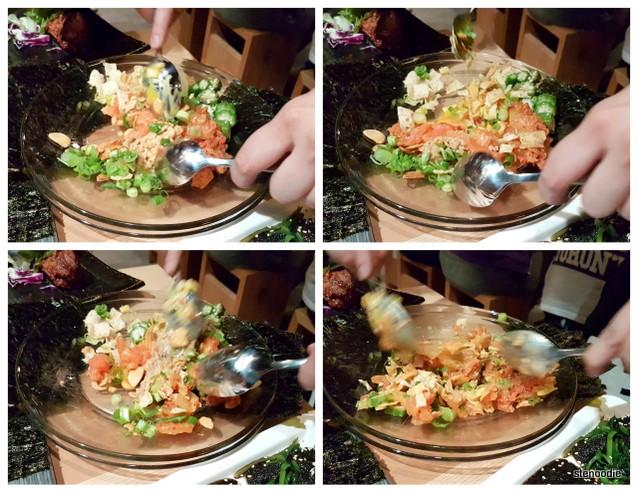 Salmon Natto Yukke mixing