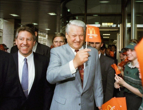 Russian President Boris Yeltsin attends opening ceremony of second McDonald's restaurant in Moscow .