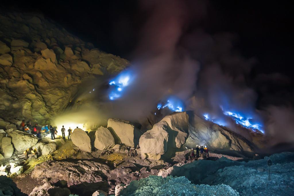 Blue Flames At Ijen East Java Indonesia