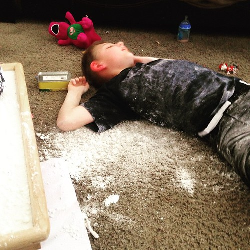 We made snow. Total #pintrestfail but funny. Ty made a #snowangel I promise it's not crack.