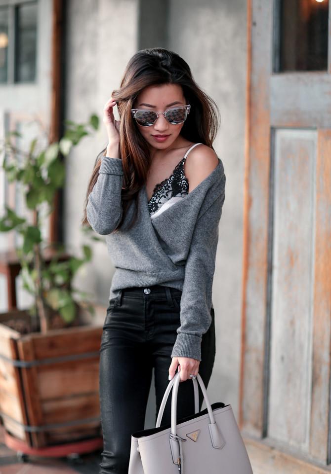 prada saffiano cuir double bag gray outfit