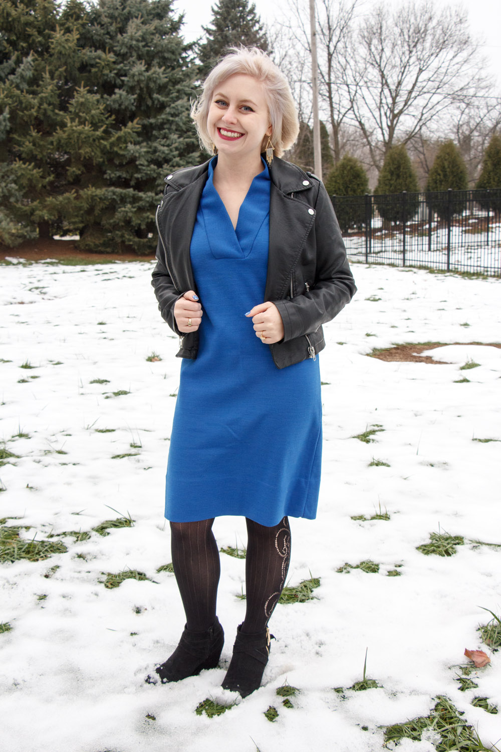 Cobalt Blue Vintage 60s Shift Dress, Faux Leather Jacket, Patterned Tights