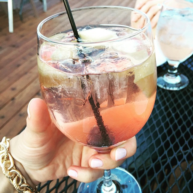 Enjoying a peach sangria on a rooftop restaurant with my love. Celebrating our 'dating' anniversary, because why not. #briancarrieforever #vindeset #sangria #myfab5