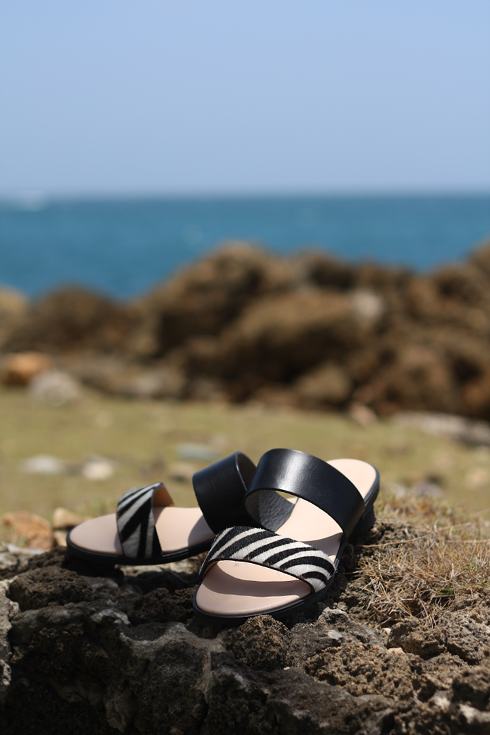 zebra print slip on sandals
