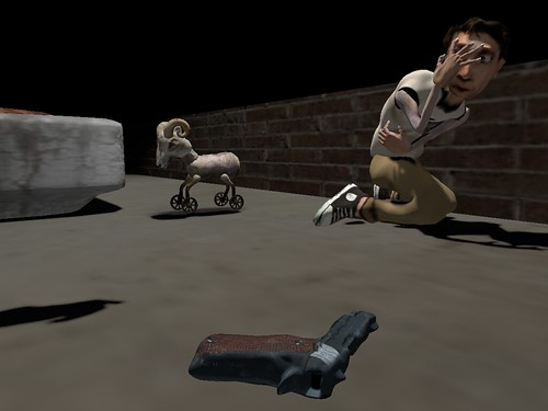 Image Description: A statue of a young boy cowers against a low wall, a gun on the ground in front of him.