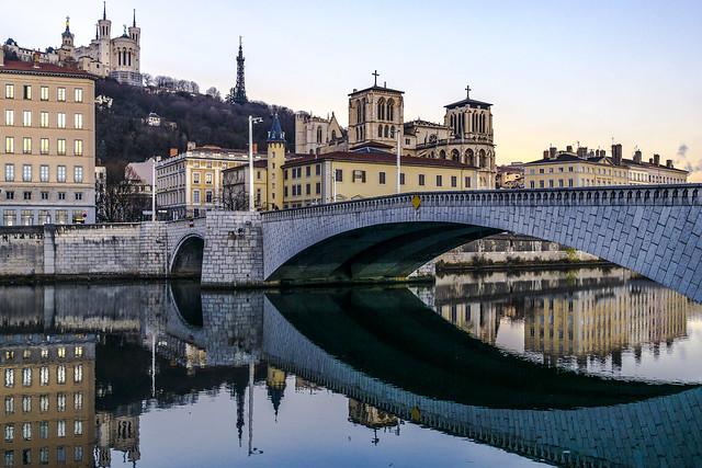 Lyon, France : Saint-Jean cathedral and Tilsit bridge