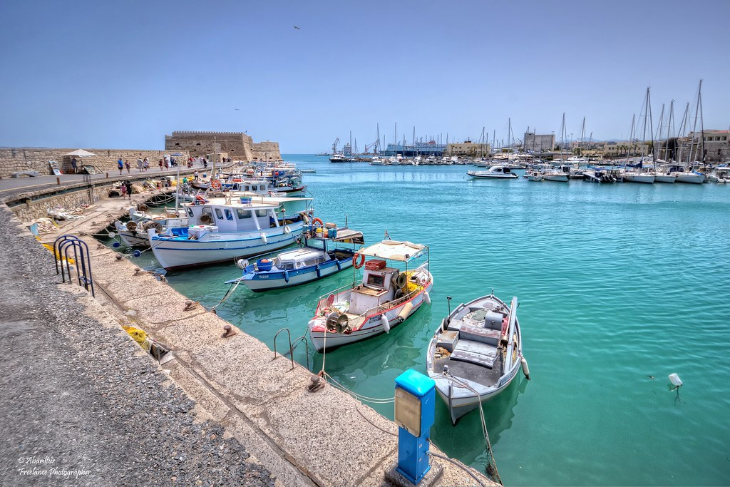 Fishing boats moored in the Venetian Harbour (Crete/ Greece)
