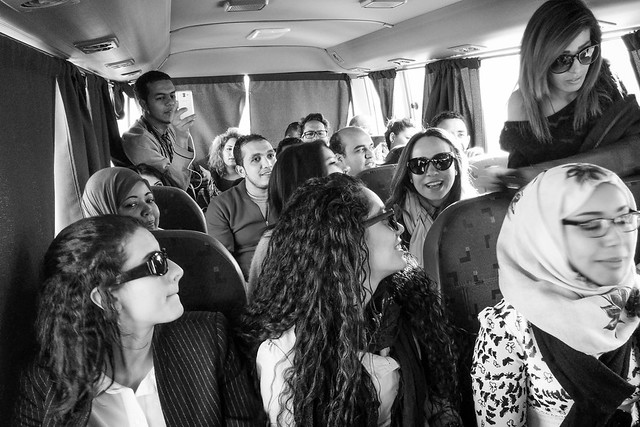 The Mosharka team in the bus