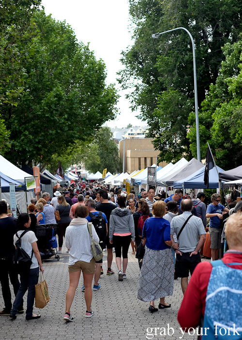 Market stalls and crowds at the Salamanca Market in Hobart