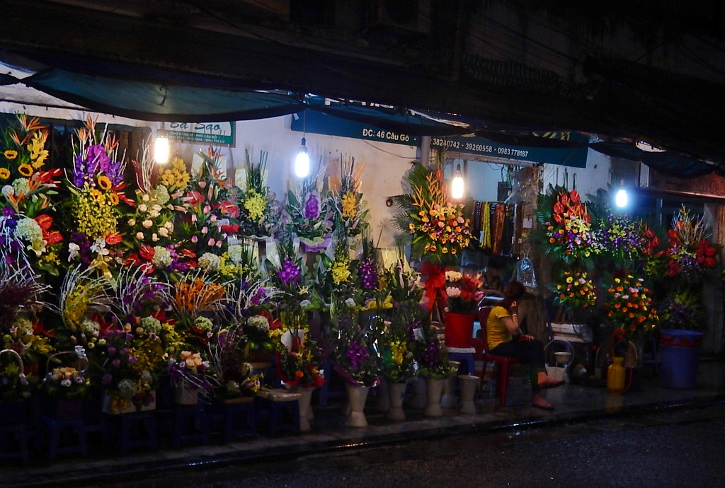 Night Flower Market Hanoi by Mike