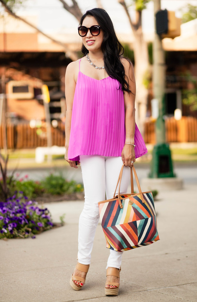 cute & little blog | magenta pleated accordian cami, white distressed jeans, nude wedges, tory burch kerrington tote | spring summer outfit
